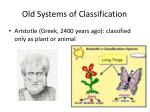 old systems of classification