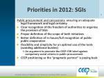 priorities in 2012 sgis