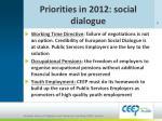 priorities in 2012 social dialogue