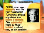 early taxonomists
