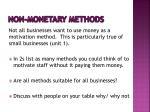 non monetary methods