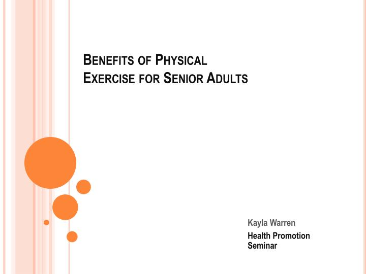 benefits of physical exercise for senior adults n.