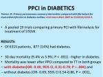 ppci in diabetics