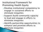 institutional framework for promoting h ealth equity
