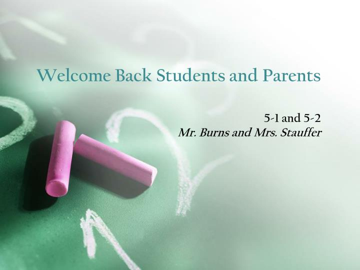 welcome back students and parents n.
