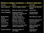 different collagen mutations distinct disorders