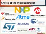 choice of the microcontroller