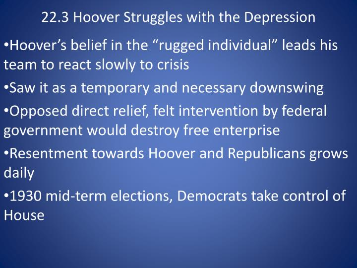 hoover simply extended the agonies of the depression essay An overview of the great depression randall parker, east carolina university this article provides an overview of selected events and economic explanations of the interwar era.