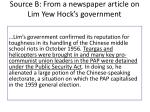 source b from a newspaper article on lim yew hock s government