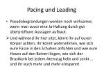 pacing und leading
