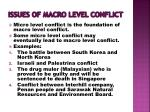 issues of macro level conflict