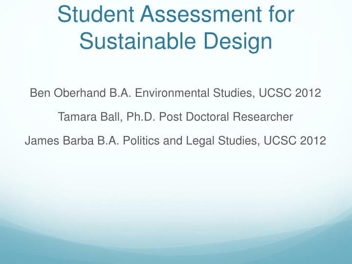 student assessment for sustainable design n.