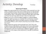 activity develop tuesday