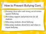 how to prevent bullying cont