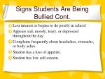 signs students are being bullied cont