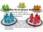 presiones de los grupos de inter s