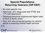 special populations returning veterans oif oef