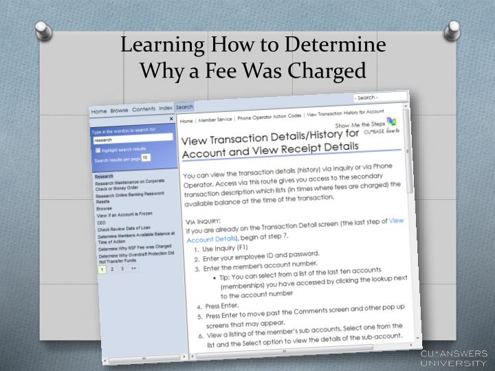 Learning How to Determine Why a Fee Was Charged