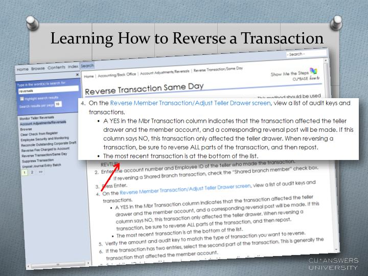 Learning How to Reverse a Transaction
