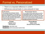 formal vs personalized