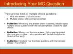 introducing your mc question