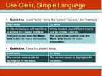 use clear simple language