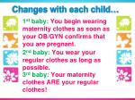 1 st baby you begin wearing maternity clothes as soon as your ob gyn confirms that you are pregnant