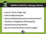 middle schools manage money