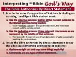 the bible authorizes by direct statement