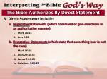 the bible authorizes by direct statement1