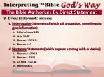 the bible authorizes by direct statement2