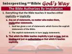 the bible authorizes by implication