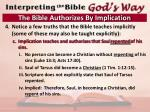 the bible authorizes by implication10