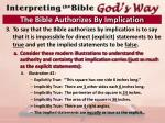 the bible authorizes by implication4