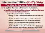 the bible authorizes by implication6