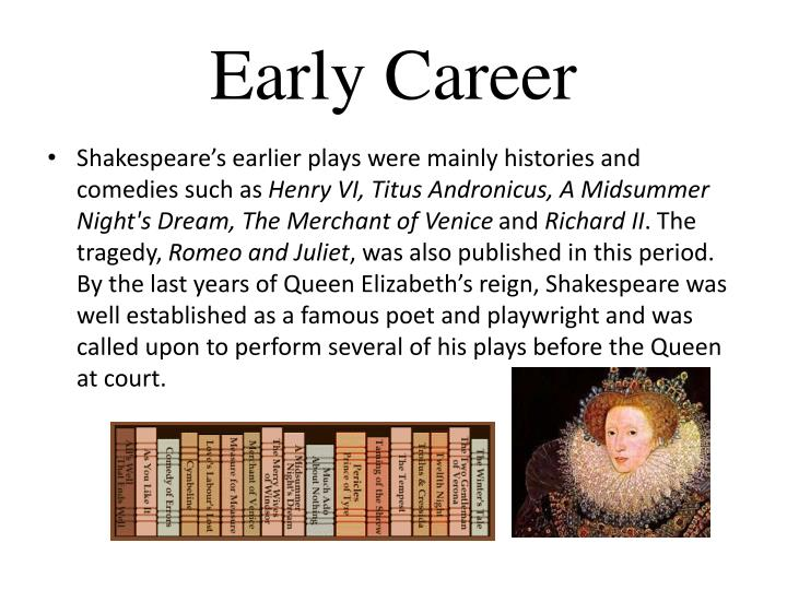 the early professional career of william shakespeare Read william shakespeare's timeline from before his birth to after his death all  his major  home biography +  1248, earliest known english reference to the  shakespeare name, relating to william sakspear from the nearby village of  clopton  of wit, there is an allusion to shakespeare's theatrical and literary  career, 28.