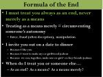 formula of the end