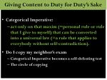 giving content to duty for duty s sake