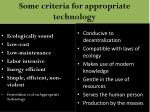 some criteria for appropriate technology