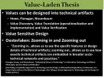 value laden thesis