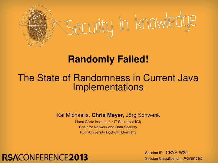 randomly failed the state of randomness in current java implementations n.