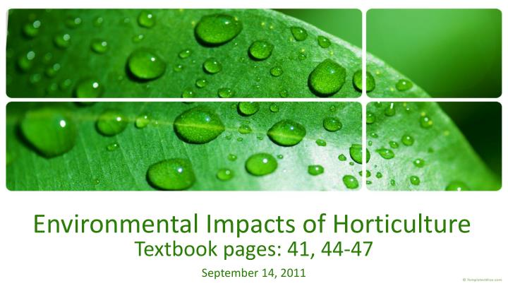 environmental impacts of horticulture n.