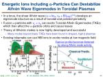 energetic ions including particles can destabilize alfv n wave eigenmodes in toroidal plasmas