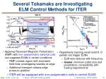 several tokamaks are investigating elm control methods for iter