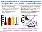 several tokamaks have demonstrated mitigation of disruption heat loads vessel currents and forces