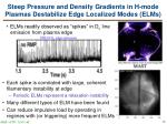 steep pressure and density gradients in h mode plasmas destabilize edge localized modes elms