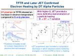 tftr and later jet confirmed electron heating by dt alpha particles