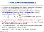 tokamak mhd safety factor q
