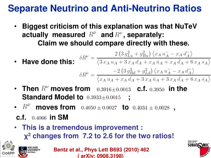 Separate Neutrino and Anti-Neutrino Ratios