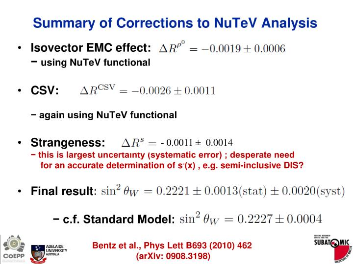 Summary of Corrections to NuTeV Analysis